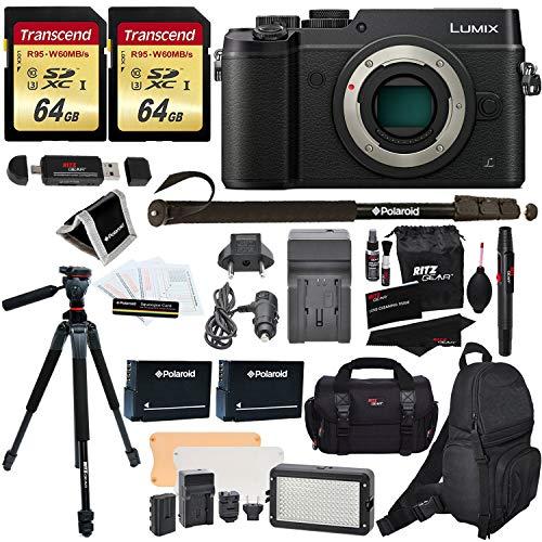 Panasonic DMC-GX8KBODY LUMIX GX8 Interchangeable Lens DSLM Camera Body Only + 2 Transcend 64 GB Class 10 + LED Kit + Ritz Gear 60