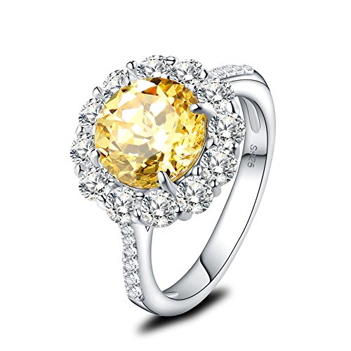 Mozume Yellow Cubic Zirconia Halo Ring Anniversary Engagement Promise 925 Sterling Silver Flower Style For women (8) by Mozume