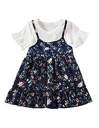OCEAN-STORE Baby Kids Girls Fly Sleeve Ruched Floral Flowers Print Summer Princess Dresses