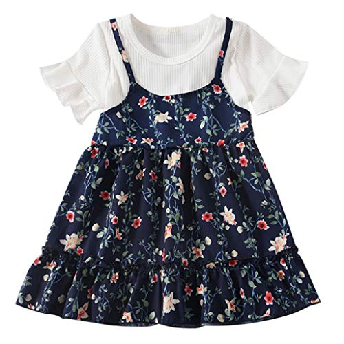 (Todaies Summer Toddler Girls Print Floral Dress, Kids Girls Fly Sleeve Ruched Flowers Clothes (18-24Months,)