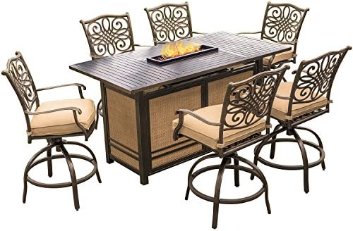 Amazon.com: Traditions 7 Piece High Dining Set In Tan With 30,000 BTU Fire  Pit Table: Garden U0026 Outdoor