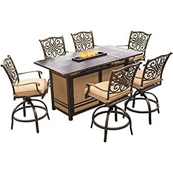 Amazoncom Hanover Monaco Piece HighDining Bar Set With - Bar top fire pit table
