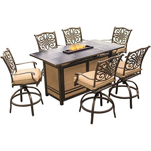 Hanover Traditions 7 Piece High Dining Bar Set In Tan With 30,000 BTU Fire  Pit