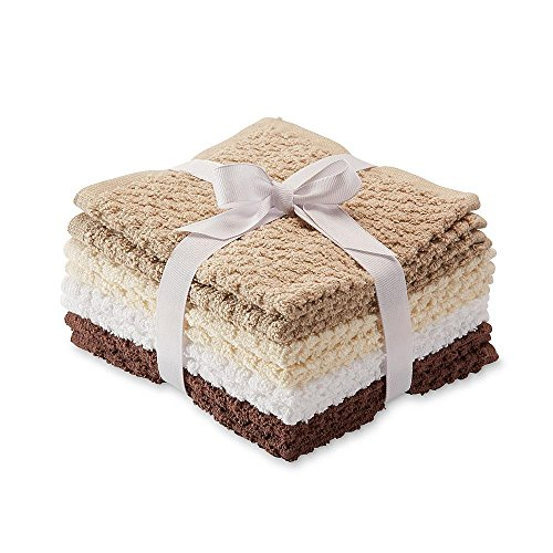 8 Pack Popcorn Texture Terry Wash Cloths Rags Brown Beige Tan White by Essential Home