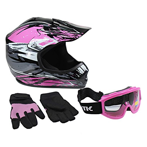 Lunatic, KIT-L2006P-13, Youth MX/ATV Helmet, Goggles & Gloves - DOT Approved - Boys Girls Kids - Pink, S