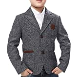 JiaYou Child Kid Boy Casual Grey Slim Fit Blazer Jacket(Grey,Height 35-39 Inches)