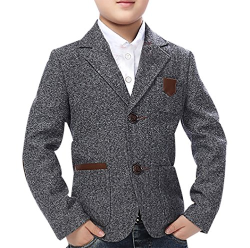 JiaYou Child Kid Boy Casual Slim Fit Blazer Jacket (Height 55-59 Inches, Grey)