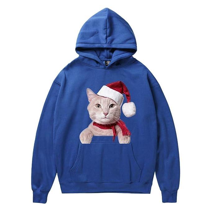 ☺Kapuzenpullover Herren Sweatshirt Hoodies mit Kapuzen 3D Weihnachten Katze  Drucken Sweatjacke Top Bluse Trainingsanzüge Sport Fitness Basic Pullover  ... 6e079b1b6d