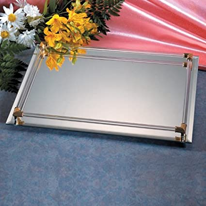 20.5 cm X 28 cm MIRROR WITH GOLD PLATED ACCENTS VANITY TRAY Studio Silversmiths 5831582 62001