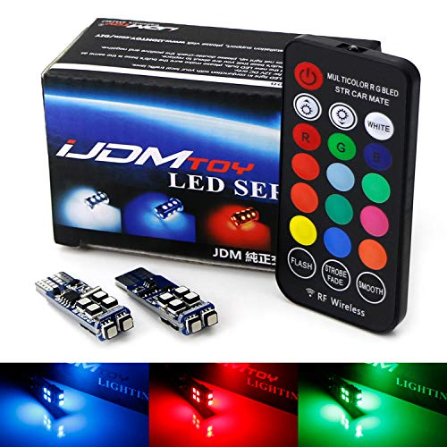 (iJDMTOY 10-SMD Multi-Color RGB 168 194 2825 W5W T10 LED Replacement Bulbs w/RF Remote Control For Car Parking Clearance Lights)