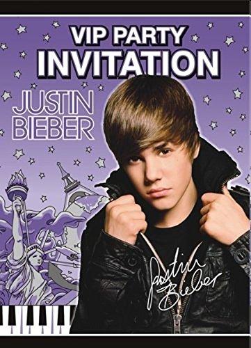 amscan Justin Bieber Invitations w/ Env. (8ct) -