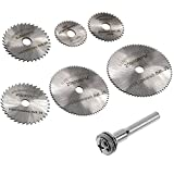 Migiwata HSS Mini Circular Saw Blades Set of 7pcs with 6mm Straight Shank Mandrel for Dremel Fordom Electrical Grinding Machine Rotary Tool