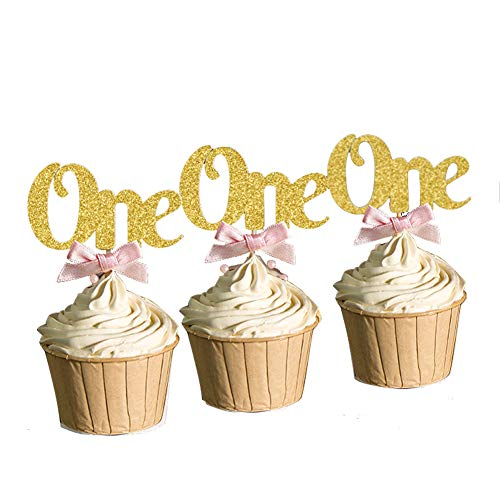 30PCS Baby Girl Boy Glitter Gold 1st Happy Birthday Cupcake Toppers One Anniversary Decoration -