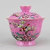 Bird flower Gaiwan Handmade Chinese Pa Hua Famille-rose Porcelain Tea Cup 200cc