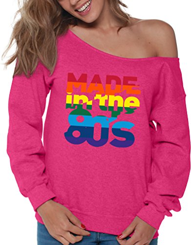 * NEW * Women's Made in the 80s Off Shoulder Sweatshirt - 4 Colors - S to XXL