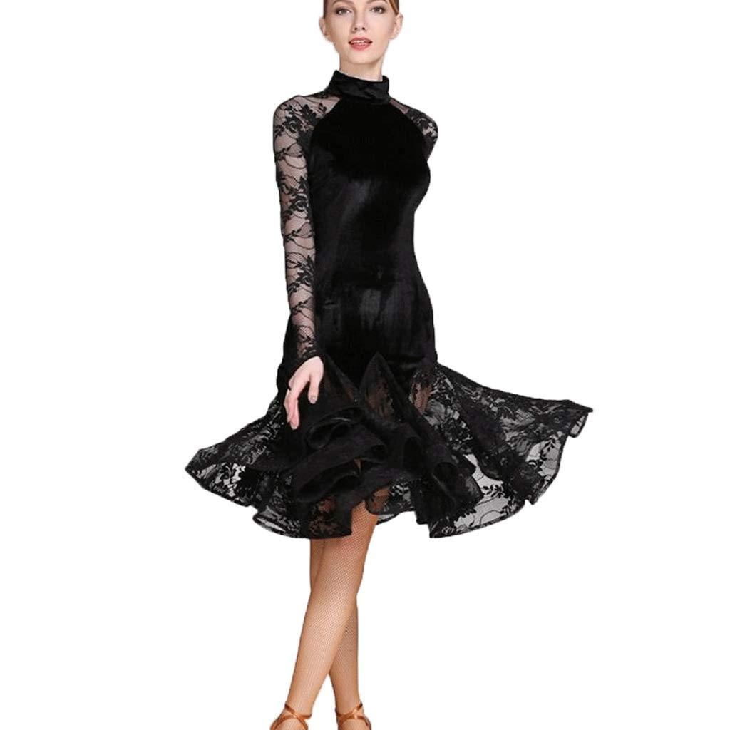 数量は多 女性のためのラテンダンスダンス衣装標準的な標準的なダンスの服 ブラック B07Q6RTR9W、レースのスプライス長袖ハイネックアート試験競争ダンス衣装 B07Q6RTR9W XXL|ブラック ブラック XXL, サガエシ:04e60753 --- a0267596.xsph.ru