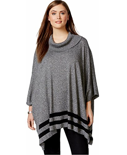Boho-Chic Vacation & Fall Looks - Standard & Plus Size Styless - Calvin Klein Plus Size Cowlneck Stripe-Hem PonchoX