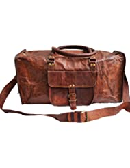 Genuine Leather Mens Sports Duffel Travel Luggage Weekend Vintage Carry on Bag