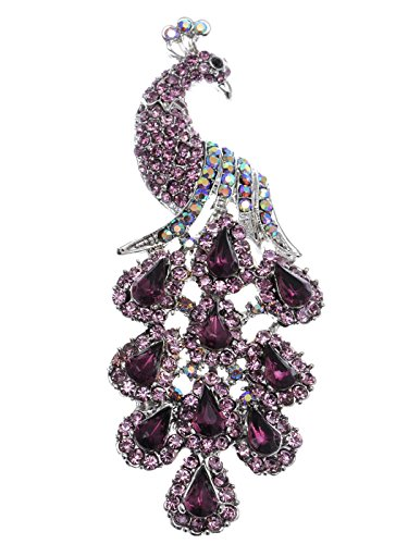Alilang Antique Amethyst Purple Crystal Rhinestones Peacock Bird Pin Brooch