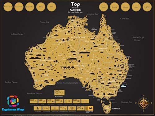 Australia Map Video.Large Premium Scratch Off Map Of Australia Poster Deluxe Adventure Travel By Kaleidoscope World Large 82 X 60 Cm Or 32 X 24 Inch Great For Gifts And