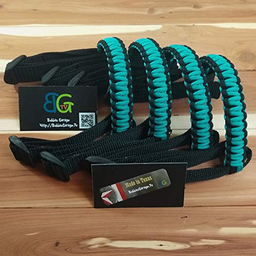 (Reversible Paracord Jeep Wrangler Grab Handles - Black & Turquoise - Pick your pairs)