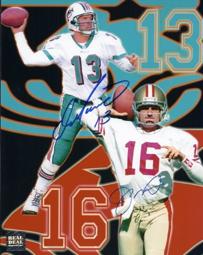 (Dan Marino and Joe Montana DUAL Signed - Autographed 8x10 inch Photo - Miami Dolphins - San Francisco 49ers)