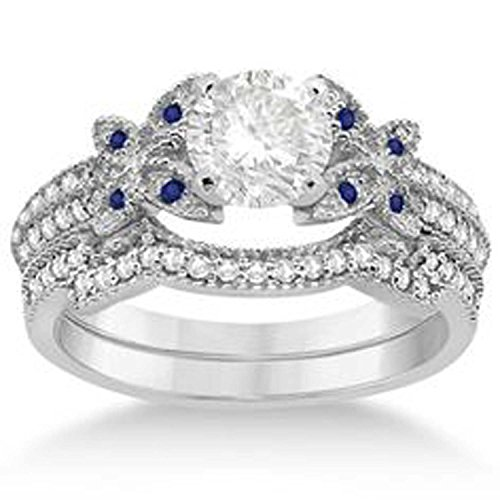 luxrygold 14K White Gold Plated 0.72 Ctw Round Cut CZ Diamond & Blue Topaz Butterfly Bridal Ring Set