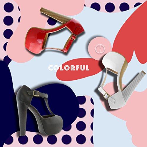 Dailyshoes Womens Peep Teen Platform Sandaal Pumps Open Teen Enkel Gesp T-strap Extreme Avond Feestjurk Casual Schoenen Zwart Pu