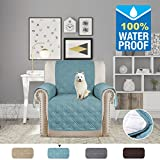 H.VERSAILTEX 100% Waterproof Furniture Protector, Stay in Place with Plastic Drop Printing Protect from Dogs/Cats, Spills, Wear and Tear (79'' x 68'' for Recliner, Smoke Blue)