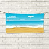 smallbeefly Tropical Sports Towel Illustration of a Sandy Beach with Calm Ocean and Sky Countryside Absorbent Towel Sand Brown Sky Blue White Size: W 12'' x L 35.18''