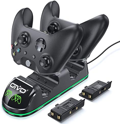 OIVO Controller Charger Compatible with Xbox One Controller, Dual Charging Station with Updated LED Strap, Remote Charger Dock for Xbox One/S/X/Elite Controller - 2 Rechargeable Battery Packs Included