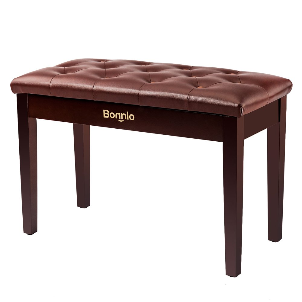 Bonnlo Duet Piano Bench with Padded Cushion and Music Storage Artist Seat Brown