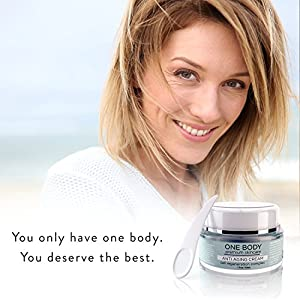 One Body Skincare Anti Aging Vitamin C Cream, Wrinkle & Line Fighting Moisturizer with Retinol, Hyaluronic Acid, and Peptide Complex for Face, Neck, and Eyes