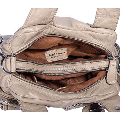 Angel Barcelo Purses and Handbag Women Shoulder Bags Double Zipper Multi Pocket Mini Size