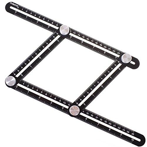 Multi Angel Ruler FULL-METAL  Template Tool Made Of Premium Aluminum Alloy - Perfect For Handymen, Builders, Craftsmen, Carpenters, Roofers, Tilers, DIY MICMI M77 (Angel Measures)