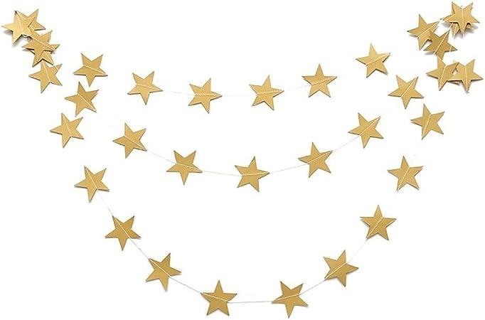 /étoile Guirlande Papier Banderole D/écoration /à Suspendre pour Mariage Vacances f/ête danniversaire D/écoration de Maison banni/ères 1/Ensemble de Dor/é