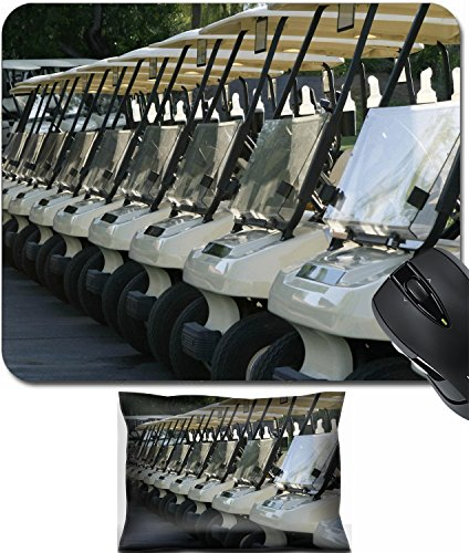 MSD Mouse Wrist Rest and Small Mousepad Set, 2pc Wrist Support design 18962620 A row of golf carts are lined up at the starting area and are ready to begin the day