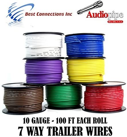 B01AAXG8Z2 7 Way Trailer Wire Light Cable for Harness LED 100ft Each Roll 10 Gauge 7 Rolls 51t2F6AMO2BL.