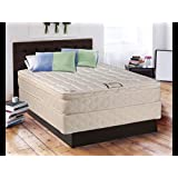 Dreamy Collection fully Assembled Eurotop (Pillowtop) Twin Mattress and Box Spring Set-Spinal Back Support, Innerspring Coils, Premium edge guards, Longlasting Comfort - By Dream Solutions USA