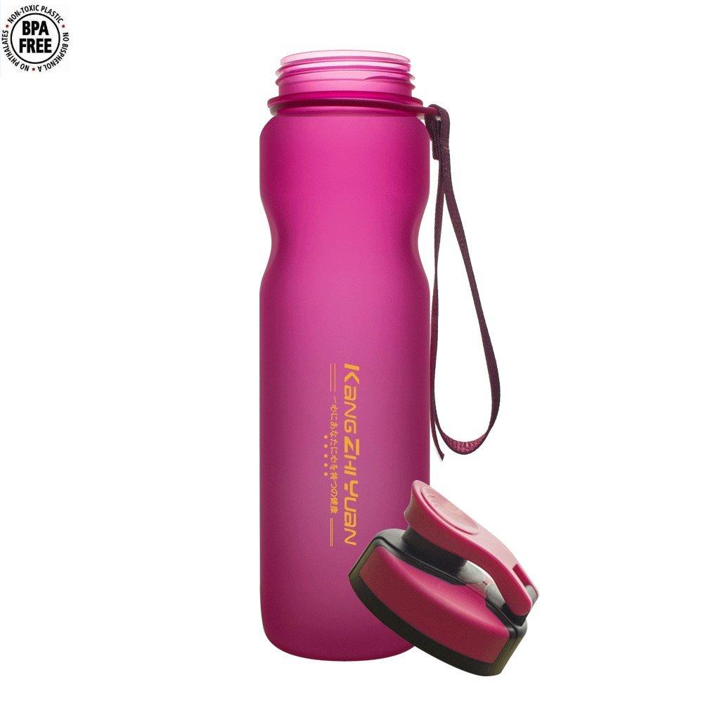 Hawkeyeスポーツウォーターボトル、36オンス漏れ防止蓋、非毒性BPAフリー水分補給ボトル、L、フリップキャップ、Drinking Bottle withメーター/フィルタ/Carringストラップ、ライト重量Fastフローforアウトドア/ジム/オフィス B07DKRQB6C ピンク