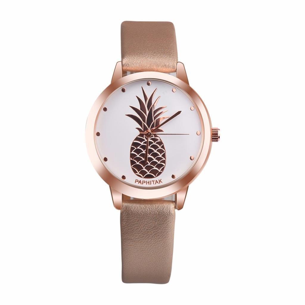 ZLOLIA Womens Pineapple Faux Leather Analog Quartz Watch (GD)