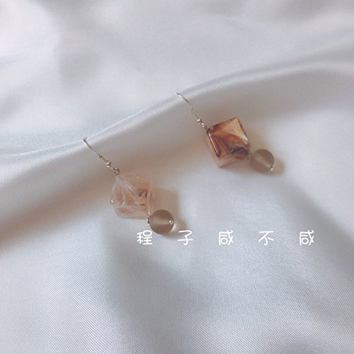 Earrings popular personality mix and match features amber stone box pendant earrings city exaggerating (Amber Earrings Mix)