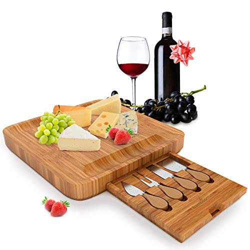 (Bamboo Cheese Board with Cutlery Set Unique Charcuterie Serving Platter for Wine, Cheese, Meat with Knife Set, Perfect Kitchen Gift Idea for Mom, Housewarming, Wedding Registry, Birthday, Hostess)