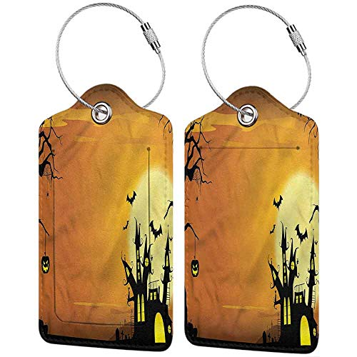 Printable Halloween Bag Tags (Halloween Luggage Tags Bulk Haunted House Travel bag suitcase with back privacy cover label 4)