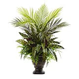 Nearly Natural Mixed Areca Palm, Fern & Peacock with Planter, 27''