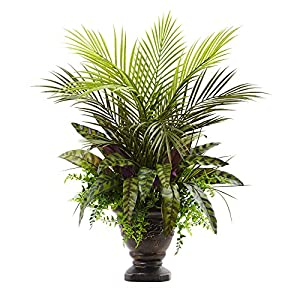 "Nearly Natural 6828 Mixed Areca Palm, Fern & Peacock with Planter, 27"" 89"