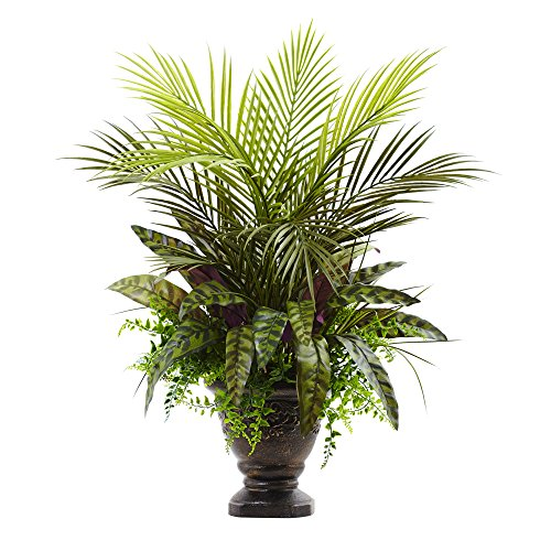 (Nearly Natural 6828 Mixed Areca Palm, Fern & Peacock with Planter, 27