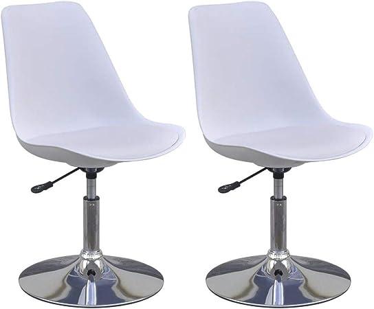 vidaXL 2X Chaise de Salle à Manger Pivotante Réglable Blanc Chaise de Cuisine