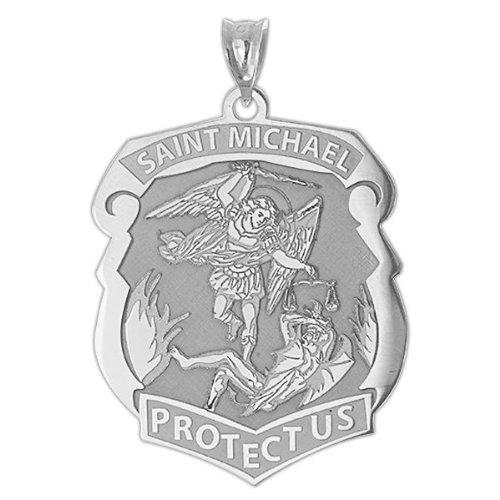 Saint Michael Badge - 3/4 Inch X 1 Inch - Sterling (Badge Pendant)