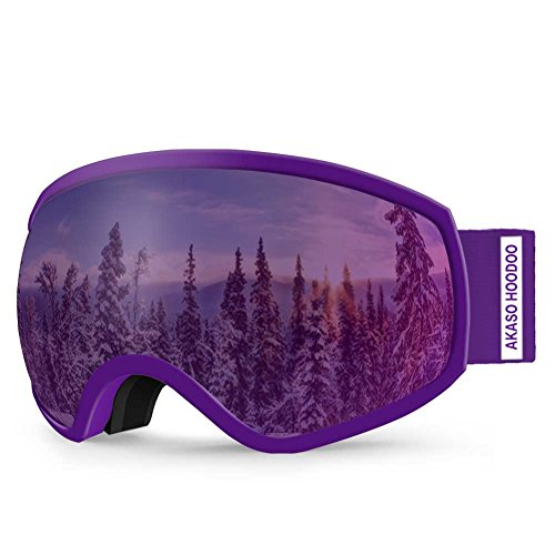 AKASO Hoodoo Ski Goggles, Snowboard Goggles - Anti-Fog, 100% UV Protection, Double-Layer Spherical Lenses, Helmet Compatible Snow Goggles for Kids (Explore Oregon Special Edition) Purple Kids Goggles